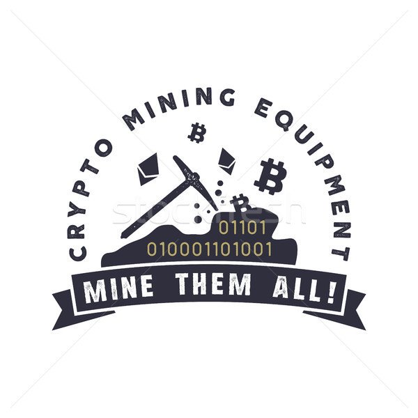 Crypto mining equipment emblem. Crypto currency label and concept. Digital assets logo. Vintage han  Stock photo © JeksonGraphics