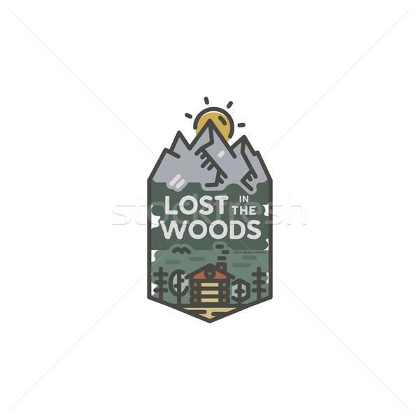 ヴィンテージ 手描き 旅行 バッジ キャンプ ラベル ストックフォト © JeksonGraphics