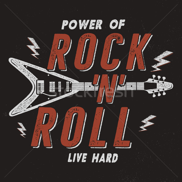 Vintage Hand Drawn Rock n Roll Poster, Retro Music Background. Musical Tee Graphics Design. Live Har Stock photo © JeksonGraphics