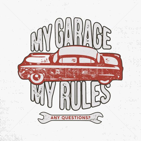 Benim garaj kurallar bağbozumu örnek Stok fotoğraf © JeksonGraphics
