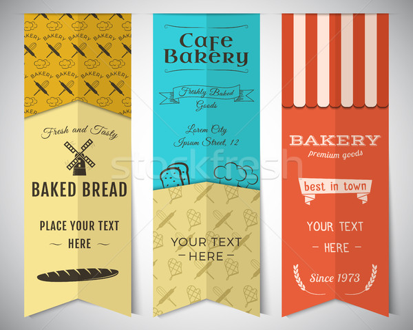 Bakery shop and cafe vertical banners collection. Stickers set with fresh bread, windmill icons, log Stock photo © JeksonGraphics