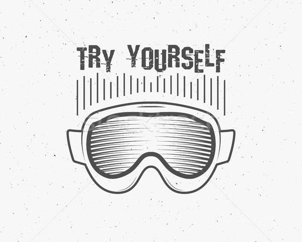 Snowboarding isolated goggles icon, motivational text, snowboard vector mask, protective equipment.  Stock photo © JeksonGraphics