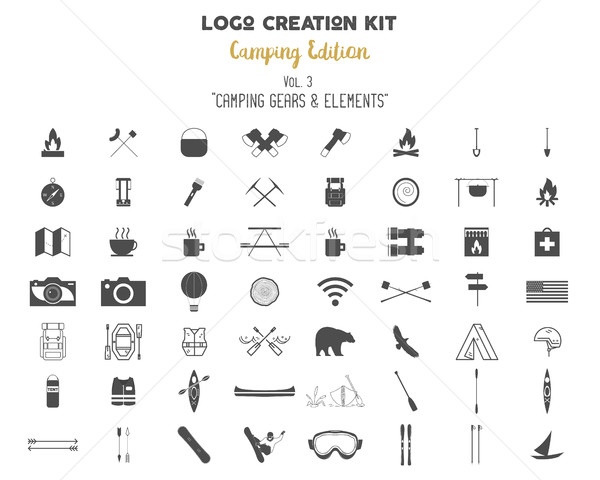 Stockfoto: Logo · schepping · uitrusting · camping · ingesteld · reizen