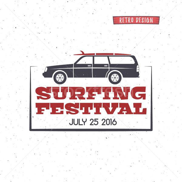 Szörfözik fesztivál címke klasszikus kitűző terv Stock fotó © JeksonGraphics