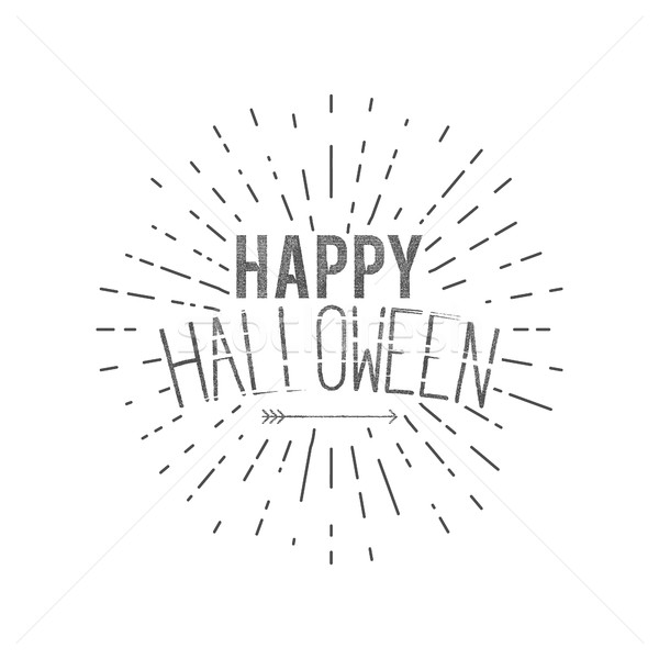 Happy Halloween label. Vector holiday wishes overlay for photo, cards. Typography design with sun bu Stock photo © JeksonGraphics