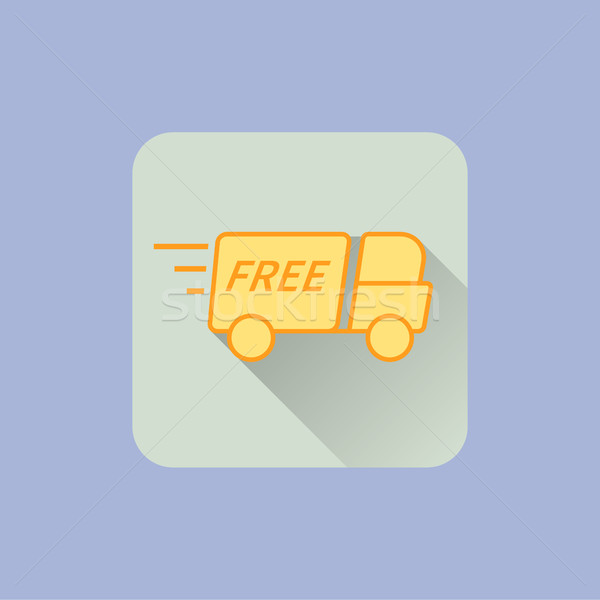 Stock photo: Delivery Truck Icon. With free sign on blue background. Can be used on web, mobile application, ui e