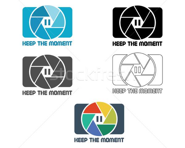 Sluiter icon logo-ontwerp sjabloon badge Stockfoto © JeksonGraphics