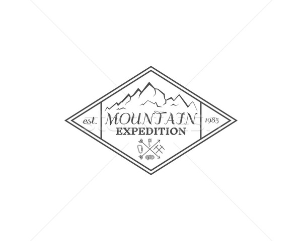 Summer mountain camp badge, logo, label and icon template. Travel, hiking, climbing style. Outdoor e Stock photo © JeksonGraphics