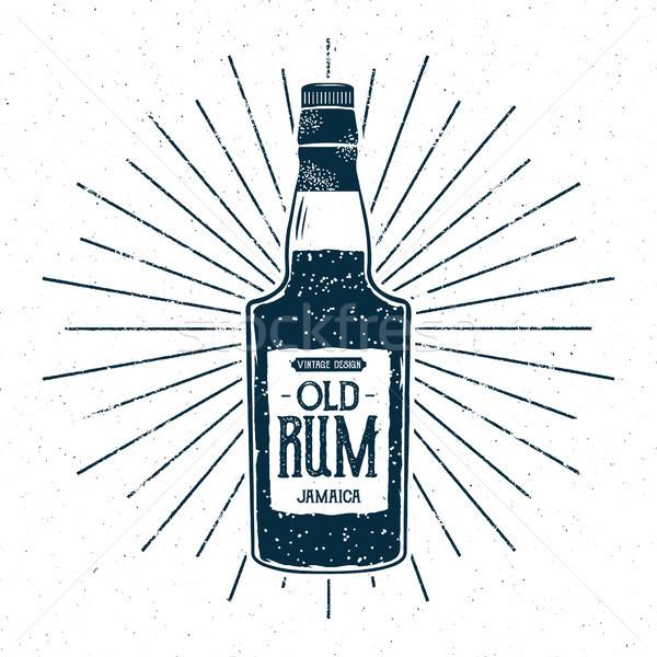 Retro rom şişe etiket dizayn bağbozumu Stok fotoğraf © JeksonGraphics