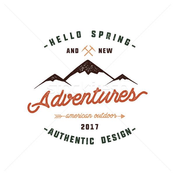 ヴィンテージ 冒険 手描き ラベル デザイン ハロー ストックフォト © JeksonGraphics
