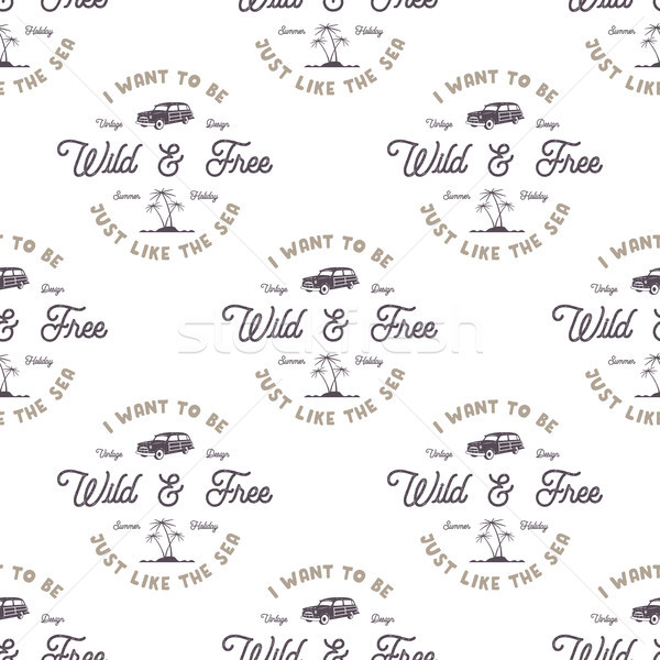 monochrome seamless pattern with old style surf car, palms, sea and typography elements. Wilderness Stock photo © JeksonGraphics