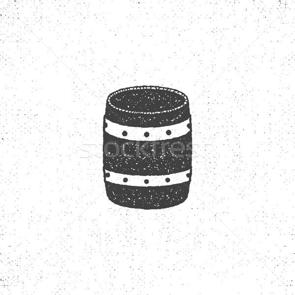 retro barrel icon. Isolated on white background barrel symbol. Vintage silhouette design. Stock vect Stock photo © JeksonGraphics