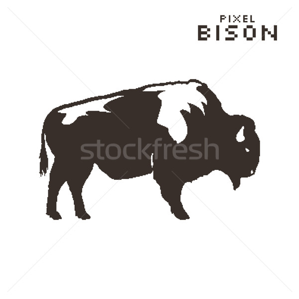 Vector pixel art bison on a white background. Silhouette retro style Stock photo © JeksonGraphics