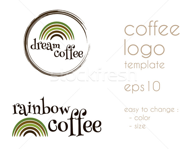 Dream Coffee Vintage Labels, logo template collection.  Unique and stylish design. Rainbow symbol. B Stock photo © JeksonGraphics