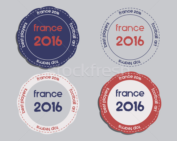 Brand identity elements - logo templates and badges. France 2016 Football. The national colors of Fr Stock photo © JeksonGraphics