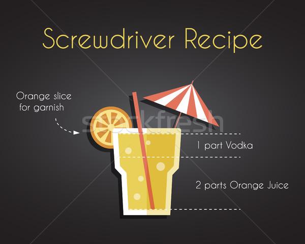 Vis pilote cocktail boire recette vecteur Photo stock © JeksonGraphics