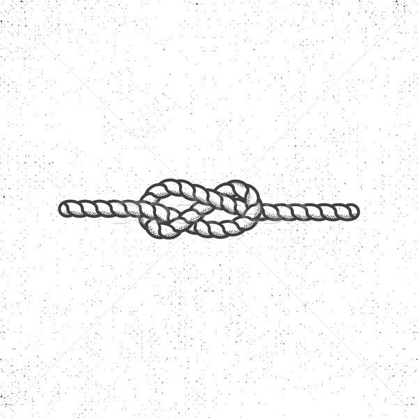 Nautical rope knot symbol on vintage roughen style. Monochrome vector design. Isolated on white back Stock photo © JeksonGraphics