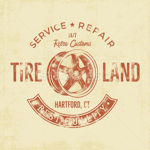 Garage service vintage tee design graphics, Tire land, repair service typography print. T-shirt cust Stock photo © JeksonGraphics