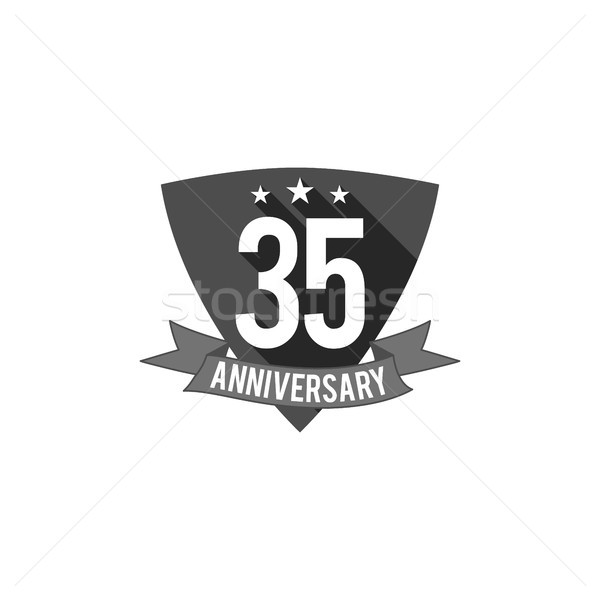 35 Years Anniversary Badge Sign And Emblem Flat Design Easy To