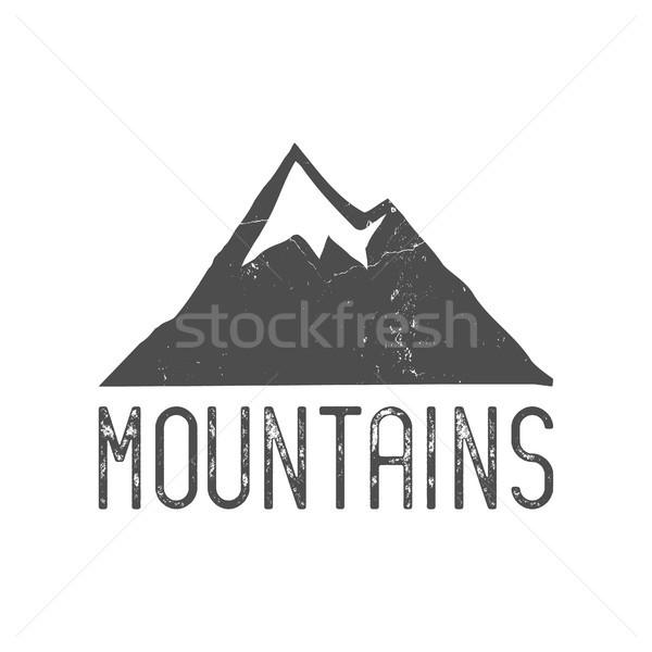 Hand drawn mountain badge. Wilderness old style typography mountain label. Retro mountain logo desig Stock photo © JeksonGraphics