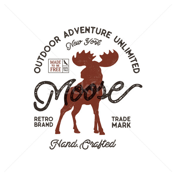 Outdoor adventure label. Vintage typography with moose and texts. Retro illustration of outdoor adve Stock photo © JeksonGraphics