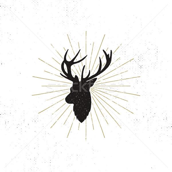 Ciervos forma silueta animales diseno negro Foto stock © JeksonGraphics
