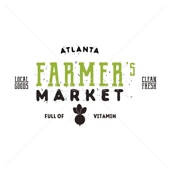 Farmers Market typography emblem design. Vintage roughen and hipster style. Bio, green eco logo temp Stock photo © JeksonGraphics