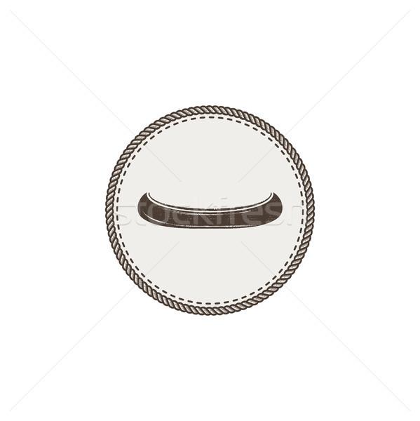 Kanu Symbol Patch Aufkleber Jahrgang Hand gezeichnet Stock foto © JeksonGraphics
