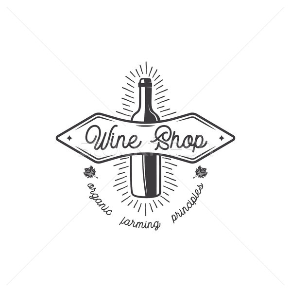 Wine shop logo, label. Organic wines principles sign.Vineyard badge. Retro Drink symbol - wine bottl Stock photo © JeksonGraphics