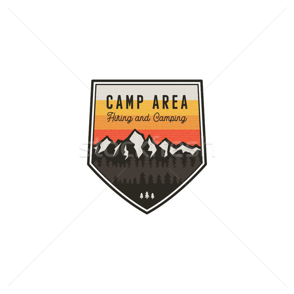 Camping area and hiking vintage badge. Mountain explorer label. Outdoor adventure logo design with l Stock photo © JeksonGraphics