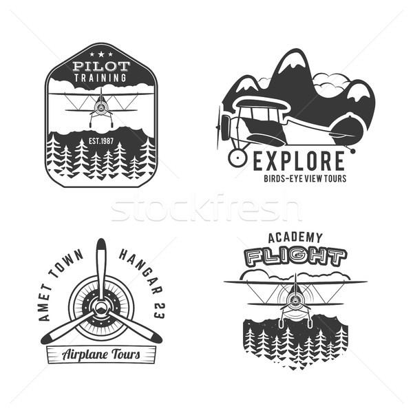 Vintage hand drawn old fly stamps. Travel or business airplane tour emblems. Airplane logo designs.  Stock photo © JeksonGraphics