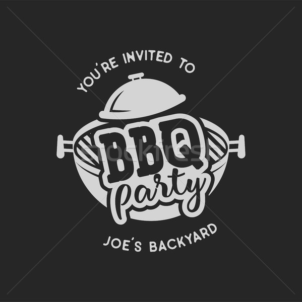 Vintage bbq party barbecue badge Foto d'archivio © JeksonGraphics
