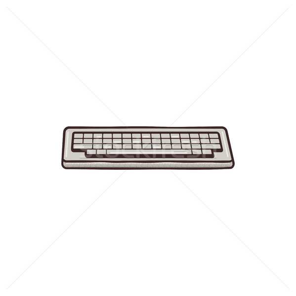 Vintage hadn drawn keyboard concept. Mixed flat and retro design. Personal computer equipment. Stock Stock photo © JeksonGraphics