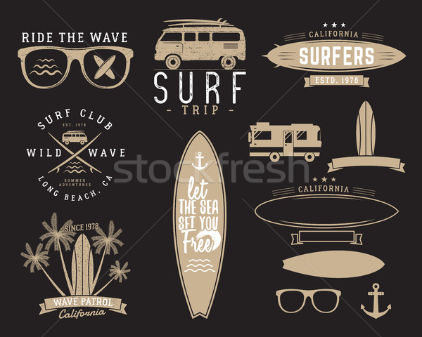 Set of Vintage Surfing Graphics and Emblems for web design or print. Surfer, beach style logo design Stock photo © JeksonGraphics
