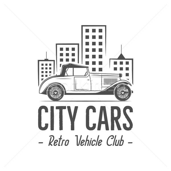 Vintage ville voiture étiquette design classique Photo stock © JeksonGraphics
