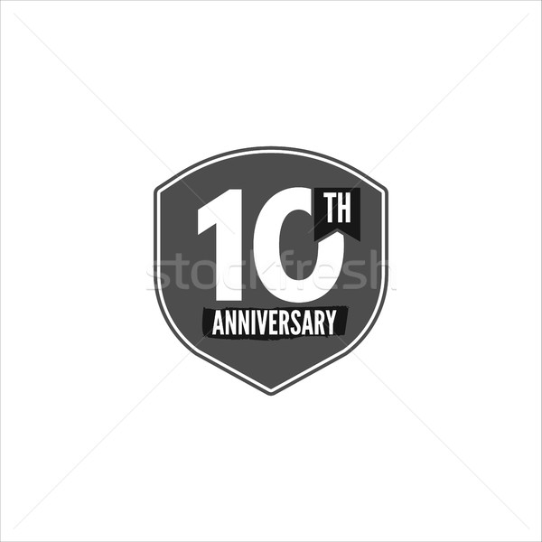 10th anniversary badge, sign and emblem in monochrome silhouette flat design. Easy to edit and use y Stock photo © JeksonGraphics