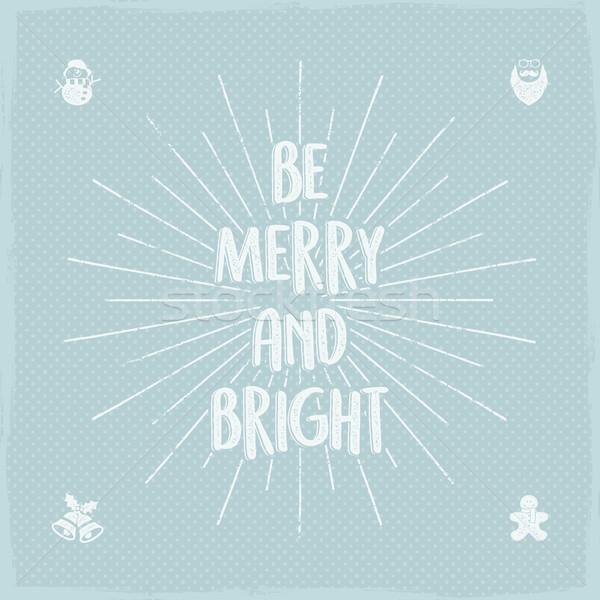 Wesoły jasne wakacje christmas życzenie powiedzenie Zdjęcia stock © JeksonGraphics