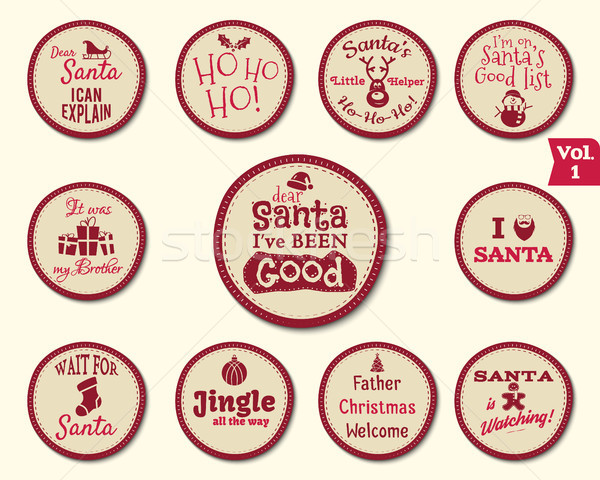 Christmas Badge and Design Elements with funny signs, quotes for kids. New Year labels, liday elemen Stock photo © JeksonGraphics