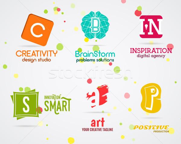 Szett vektor absztrakt kreatív logoterv művészet Stock fotó © JeksonGraphics
