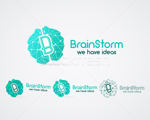 Brainstorm logo set, brain, creation idea logo templates and elements. Solve problems, idea creation Stock photo © JeksonGraphics