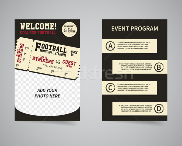 American football week end game back and front flyer template design. Usa Sport brand identity lette Stock photo © JeksonGraphics