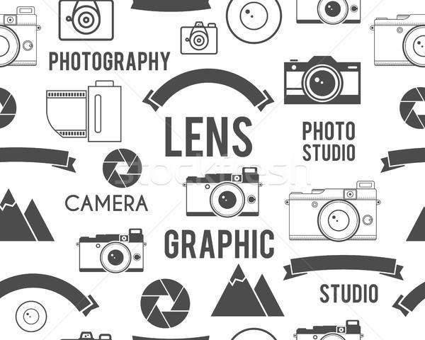 Photography symbols elements seamless pattern. Outdoor photo, graphic studio keywords. Monochrome te Stock photo © JeksonGraphics