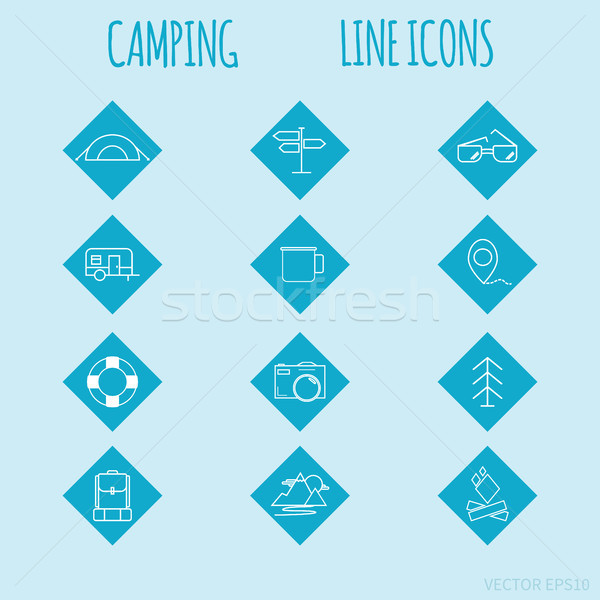 Travel and tourism line Icons set. Camping elements on blue rhombus buttons. Easy for use. Stock photo © JeksonGraphics