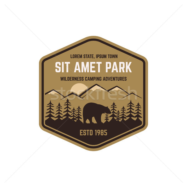National park vintage badge. Mountain explorer label. Outdoor adventure logo design with bear. Trave Stock photo © JeksonGraphics