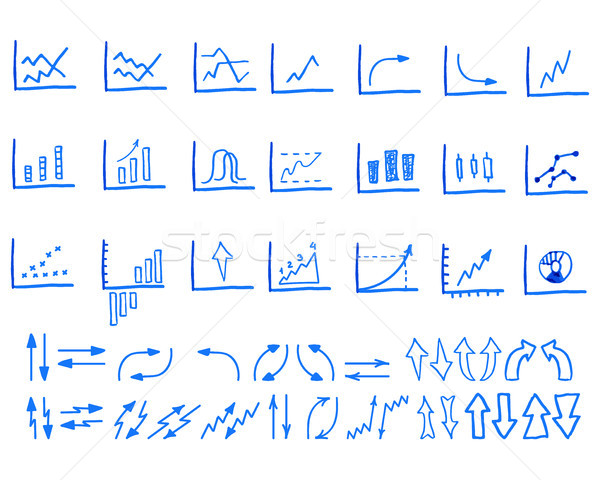 Set of doodle, sketched, hand drawn business management infographics elements, icons, arrows, charts Stock photo © JeksonGraphics