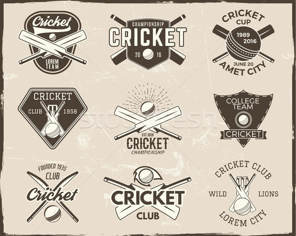 Set of retro cricket sports template logo designs. Use as icons, badges, label, emblems or print. Ve Stock photo © JeksonGraphics