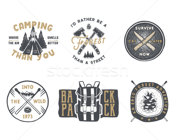 Vintage hand drawn travel badge and emblem set. Hiking labels. Outdoor adventure inspirational logos Stock photo © JeksonGraphics