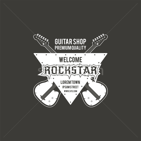 Gitaar winkel vector label badge Stockfoto © JeksonGraphics