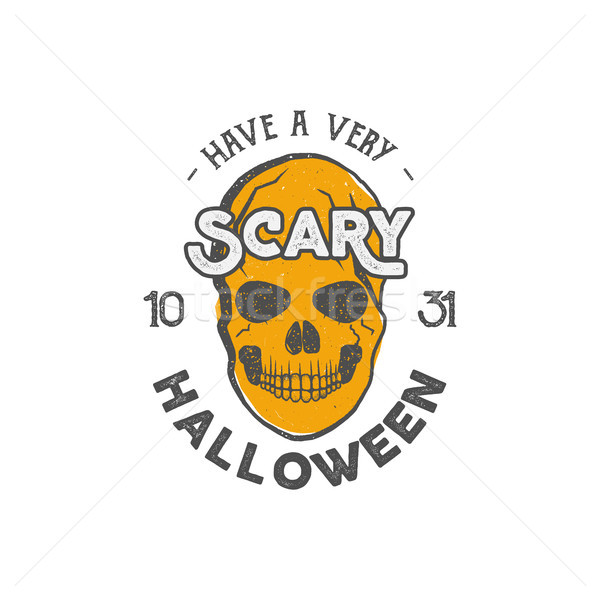 Halloween party label template with skull and typography elements. Stock illustration text with retr Stock photo © JeksonGraphics