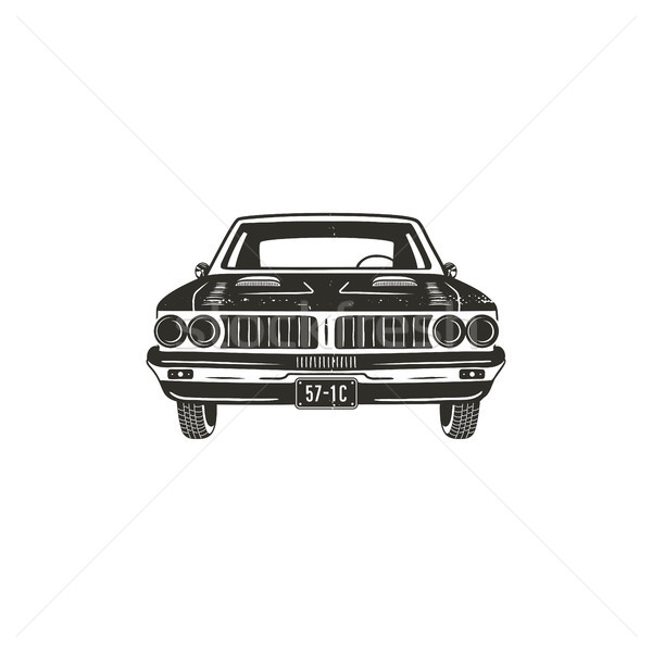 Vintage hand drawn muscle car. Retro car symbol design. Classic car emblem isolated on white backgro Stock photo © JeksonGraphics